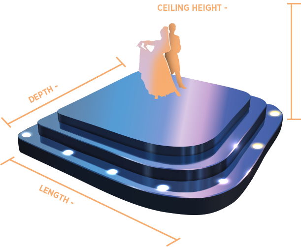 The size of the stage floor - length 4 m., depth 3 m., height 2.5 m.